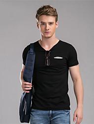 M. D® Hommes Col Arrondi Manche Courtes T-shirt Noir / Gris / Beige-584