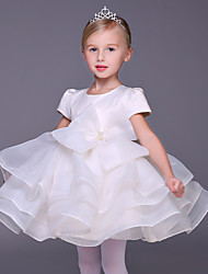 Ball Gown Short / Mini Flower Girl Dress - Organza Short Sleeve Jewel with Bow(s)