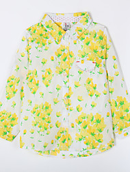 Girl's Casual/Daily Print Blouse,Cotton Fall Yellow