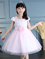 A-line Knee-length Flower Girl Dress - Lace / Satin / Tulle Short Sleeve Jewel with Flower(s) / Pearl Detailing