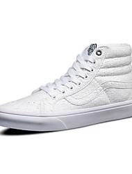 Homme-Extérieure / Sport / Décontracté-Noir / Blanc-Talon Plat-Bout Arrondi-Sneakers-Cuir / Tulle