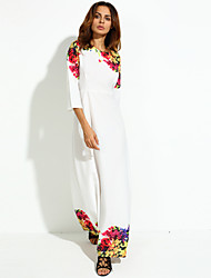 Women's Boho Holiday/Party Simple Swing Dress,Floral Round Neck Maxi ¾ Sleeve White Polyester Fall Mid Rise Micro-elastic Medium