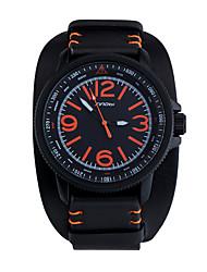 SINOBI Men's Wrist watch Water Resistant / Water Proof Sport Watch Quartz Leather Band Black