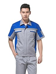 Short-Sleeved Overalls Suit Welding Protective Clothing for Men and Women in Summer Clothes Repair Shop (Sold Blue)