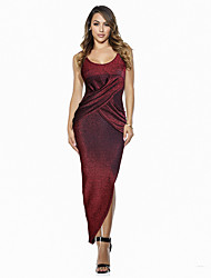 Feminino Bandagem / Bainha Vestido,Casual / Formal / Festa/Coquetel Sensual Sólido Decote U Assimétrico Sem MangaAzul / Vermelho /