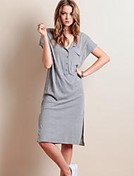Women's Casual/Daily Simple Shift Dress,Solid Shirt Collar Midi Short Sleeve