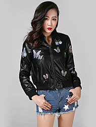 Women's Casual/Daily Simple Spring Leather JacketsEmbroidered Stand Long Sleeve Black PU / Cotton Medium