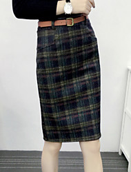 Women's Plaid Blue / Red / Brown Skirts,Street chic Above Knee