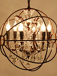 Loft 6 Heads Amercian Traditional Crystal Pendant Lamp for the Kitchen Room / Foyer / Hotel Decorate Chandelier Light