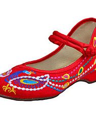 Women's Shoes Canvas Spring / Summer / Fall Mary Jane / Comfort Flats Casual Flat Heel Buckle Flower Black Red Walking