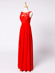 Formal Evening Dress Sheath / Column Scoop Ankle-length Chiffon / Lace with Sash / Ribbon