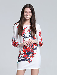 Women's Club Chinoiserie Sheath Dress,Floral Round Neck Mini Long Sleeve Red Cotton Fall High Rise Micro-elastic Thin