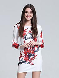 Gaine Robe Femme Soirée Chinoiserie,Fleur Col Arrondi Mini Manches Longues Rouge Coton Automne Taille Haute Micro-élastique Fin