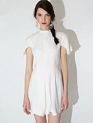 Mujer Vaina Vestido Noche Vintage,Un Color Cuello Barco Mini Manga Corta Blanco Poliéster Verano Tiro Medio Microelástico