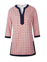 Damen Geometrisch Street Schick Lässig/Alltäglich T-shirt,V-Ausschnitt Alle Saisons ¾-Arm Rot Baumwolle Mittel