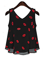Women's Going out Cute Summer Blouse,Floral V Neck Sleeveless White / Black Polyester Thin