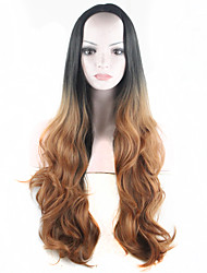 Ombre Wig Long Wavy Two Colored Wig Hair Two Tone Costume Wig Gradient Black to Brown Synthetic Wigs for Women