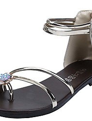 Damen-Sandalen-Büro / Kleid / Lässig-Kunststoff-Flacher Absatz-Sandalen-Silber / Gold