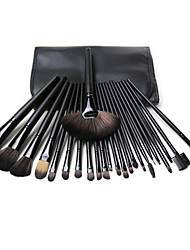 24 Makeup Brush Set Synthetic Hair Portable Wood Face