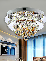 Modern Led Ceiling Light Flush Mount White Light Amber Crystal Stainless Steel 90-265V for Living Room Bed Room Hallway