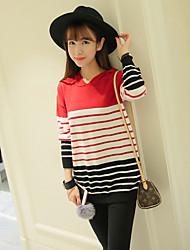 Damen Standard Pullover-Ausgehen Niedlich Gestreift Rot Gelb Mit Kapuze Langarm Baumwolle Polyester Herbst Mittel Mikro-elastisch