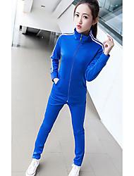 Feminino Conjunto Calça Suits Casual Simples Primavera / Outono,Estampado Azul / Rosa / Vermelho / Branco / Preto Algodão Colarinho Chinês