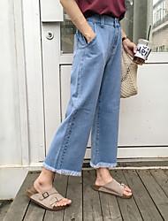 знак Южной Корее торговые женщины весной 2017 эластичный пояс джинсы широкую ногу девять очков заусенцев