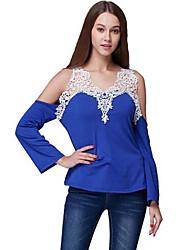 Damen Solide Sexy Lässig/Alltäglich T-shirt,Tiefes V Sommer Langarm Blau / Rot / Schwarz / Grau Baumwolle / Elasthan Dünn