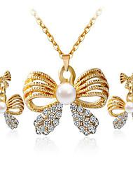 может установить Polly моды бабочка жемчуг алмаз ожерелье серьги