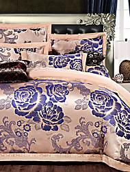 Цветы Пододеяльник наборы 4 предмета Шёлк Люкс Вышивка Шёлк Полный / Queen 4 шт. (1 пододеяльник, 1 простынь, 2 наволочки)