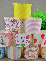 Aniversário Festa Tableware-50Peça/Conjunto Embalagens para Cupcake/Muffin Pétalas 100% Celulose Virgem Tema Clássico Cilindro