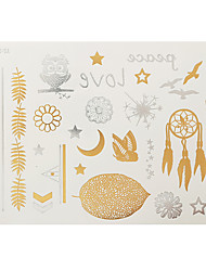 1pc Gold Silver Flash Metallic Tattoo Woman Owl Love Moon Temporary Tattoo Sticker YS-18
