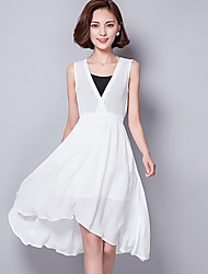 Women's Simple Solid A Line Dress,V Neck Asymmetrical Polyester