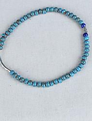 Women's Circle Beige/Blue Ceramic  Wrap Bracelets 1pc