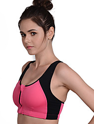 Women's Sleeveless Quick Dry Front Zipper Breathable Compression Sweat-wicking Shockproof Compression Clothing for Running Nylon Chinlon