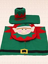 3pcs duende do natal assento do vaso sanitário decoração tampa do tanque de tapete para banheiro suprimentos casa