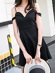 Women's Party/Cocktail Vintage A Line Dress,Solid V Neck Above Knee Sleeveless Black Cotton Summer