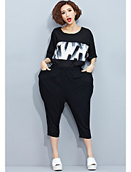 Women's Plus Size / Going out / Casual/Daily Simple Summer Set Pant,Print Round Neck ½ Length Sleeve