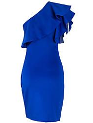 Moulante Robe Femme Soirée / Cocktail Sexy,Couleur Pleine Une Epaule Mi-long Sans Manches Coton Eté Taille Haute Micro-élastique