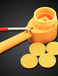 5Pcs/lot Hand pressing 75g Round Flip Moon Cake Mold Belt 4 Stamps  Semi-automatic Adjustable Thickness Cookie Cutter