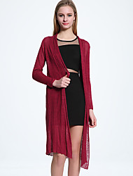 ADEAST  Women's Going out / Casual/Daily / Beach Simple / Street chic Summer Cloak/Capes,Solid V Neck Long
