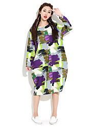 HANBELLE Women's Round Neck Long Sleeve Tea-length Dress-872#