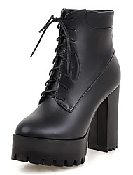 Women's Boots Winter Platform / Fashion Boots Dress Chunky Heel Lace-up Black / Brown / Gray Others