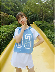 Women's Casual/Daily Simple Summer Set,Letter Hooded Short Sleeve Blue / Yellow Cotton Medium