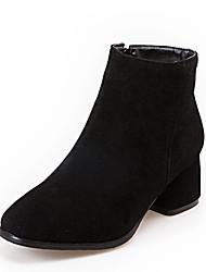 Damen-Stiefel-Kleid-Kunstleder-BlockabsatzSchwarz Grau Beige