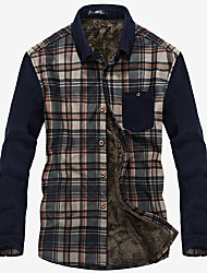 Autumn and winter with thick warm new long sleeved cashmere sweater slim shirt England Plaid Metrosexual