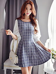 Women's Going out /Daily / Holiday Vintage / Cute / Sophisticated A Line Dress,Patchwork Round Neck Above Knee