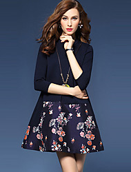 Women's Casual/Patchwork / Jacquard Round Neck ¾ Sleeve Blue / Multi-color Cotton / Polyester / Spandex Fall