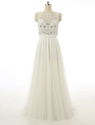 Formal Evening Dress A-line Bateau Sweep / Brush Train Chiffon with Beading / Crystal Detailing / Sequins
