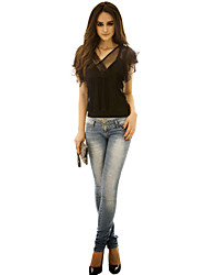 Women's Going out Sexy All Seasons Blouse,Solid V Neck Short Sleeve Black Polyester / Spandex Thin